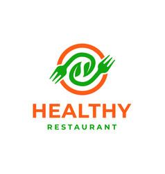 Healthy food restaurant logo icon vector