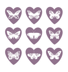 heart icons with lace butterfly silhouettes vector image