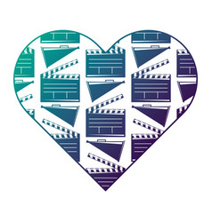heart label with movie cinema clapperboard and vector image
