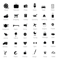 icons set black vector image