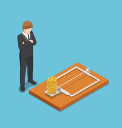 isometric businessman looking at dollar coin on vector image