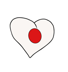 Japan isolated heart flag on white background vector