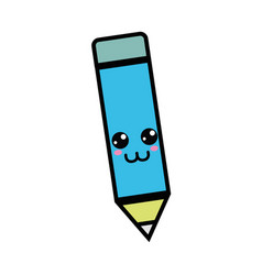 kawaii cute happy pencil tool vector image