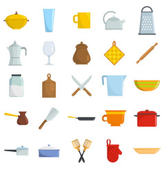 kitchenware tools cook icons set isolated vector image