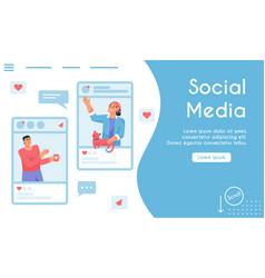 landing page social media concept vector image