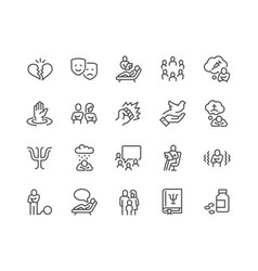 Line psychology icons vector