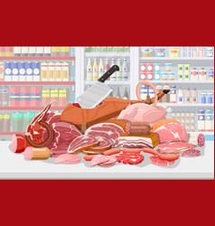 Meat products in supermarket shelf vector