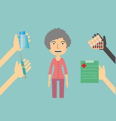 medicine concept - a woman receives medication vector image