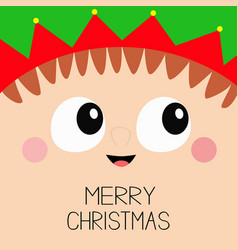 Merry christmas santa claus elf square head face vector