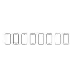 mobile phone outline smartphone icon in line vector image