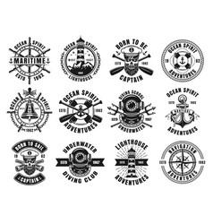 Nautical thematic big set of retro emblems vector