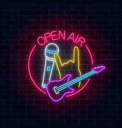 Neon open air sign with guitar microphone and vector