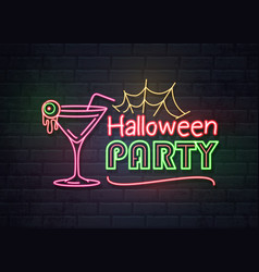 Neon sign halloween party with cocktail vector