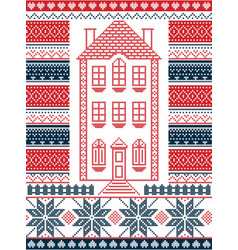 Nordic christmas pattern with gingerbread house vector