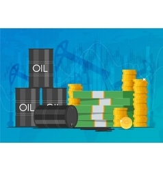 Oil cask gold coins and piles money business vector