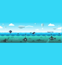 Panorama of the high seas vector