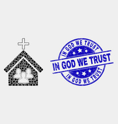 Pixelated church people icon and distress vector