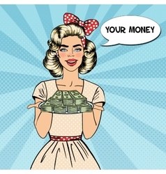 Pop Art Beautiful Woman Holding a Plate with Money vector image