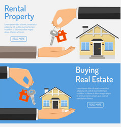 Purchase and rental real estate banners vector