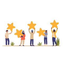 rating star customers review people holding vector image