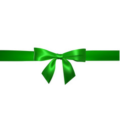 realistic green bow with horizontal green ribbons vector image