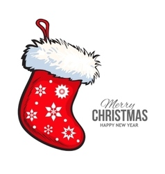 Red Christmas boot greeting card template vector image