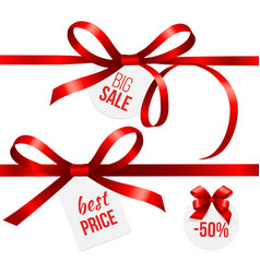 red ribbons silk ribbon bows with sale tags vector image