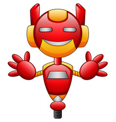 Red robot cartoon character isolated on white back vector