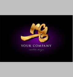 Rg r g 3d gold golden alphabet letter metal logo vector