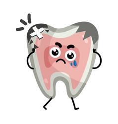 sad sick tooth cartoon character vector image