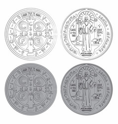 Saint benedict medals set variable colors with vector