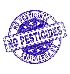 Scratched textured no pesticides stamp seal vector