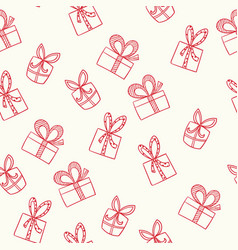 seamless hand-drawn christmas and new year pattern vector image