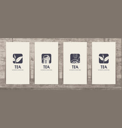 set business cards on theme tea vector image