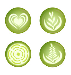 set with realistic matcha latte drink art tulips vector image