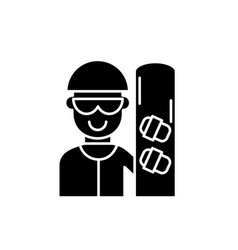 skateboarder black icon sign on isolated vector image