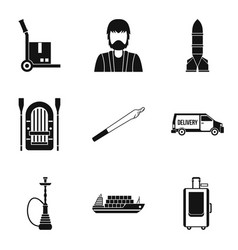 Smuggling icons set simple style vector