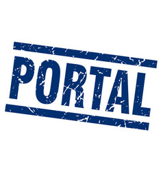 Square grunge blue portal stamp vector