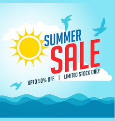 summer sale banner with sun and birds vector image