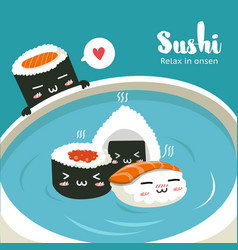 sushi in hot springs vector image