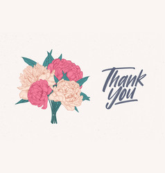 thank you note template decorated with bouquet of vector image