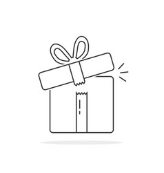thin line open gift box vector image