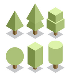 trees set 3d isometric vector image