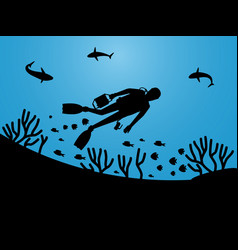 undersea life silhouettes with scuba diver vector image