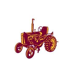 Vintage Farm Tractor Woodcut vector