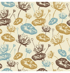 Vintage Lotus Flowers Pattern vector