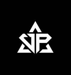Vp monogram logo with diamond shape and triangle vector