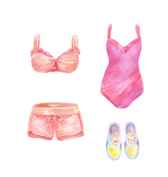watercolor set of beachwear vector image