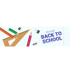 welcome back to school poster colorful pencils vector image