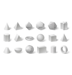 white geometric 3d shapes geometry form for vector image